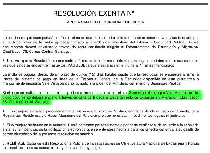 resolucion exenta aplicando multa clasificar 78 extranjeria immichile