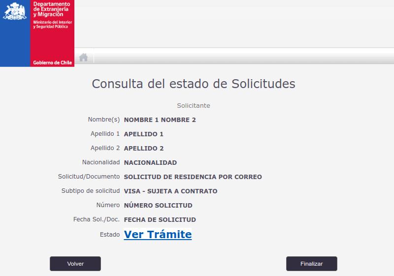 consulta de trámite en línea de extranjería migraciones immichile consulta run nombre estado de solicitud estado de trámite de visa