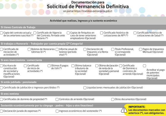 solicitud de permanencia definitiva requisitos específicos acreditar ingresos en chile