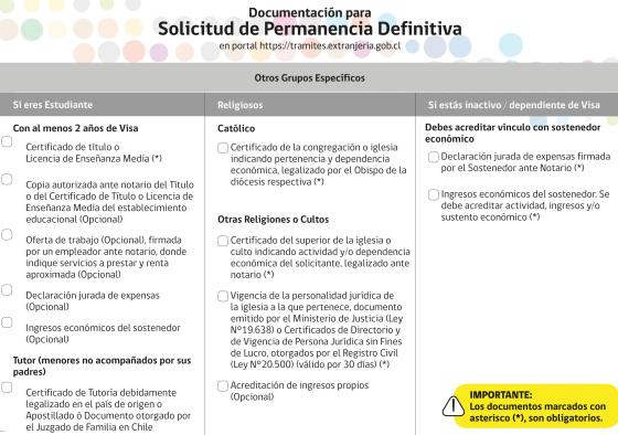solicitud de permanencia definitiva requisitos especificos otros grupos especificos chile extranjeria immichile