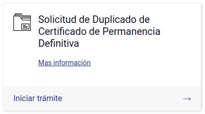 Duplicado de Certificado de Permanencia Definitiva
