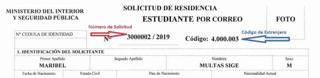 ejemplo codigo de extranjero extranjeria chile immichile