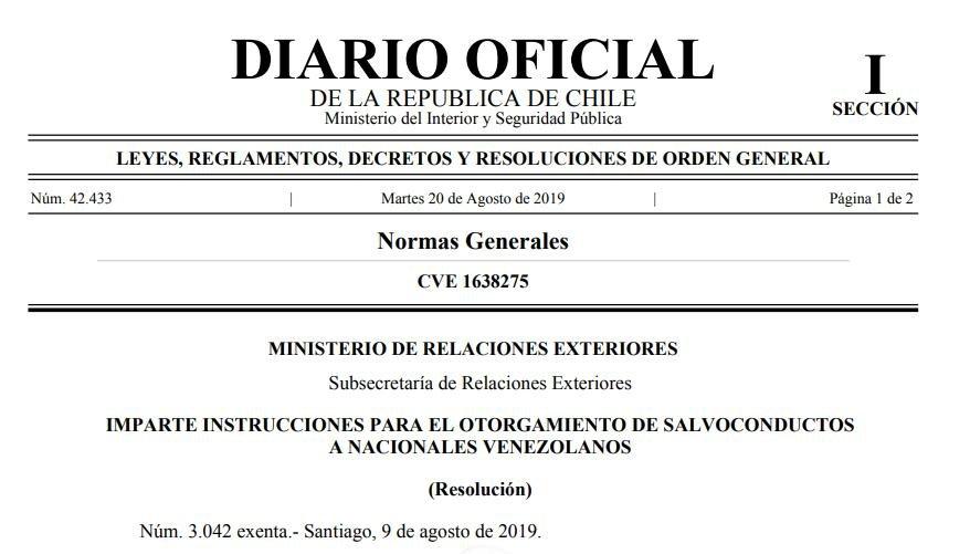 Imparte instrucciones para el otorgamiento de salvoconductos a nacionales venezolanos chile ministerio de relaciones exteriores