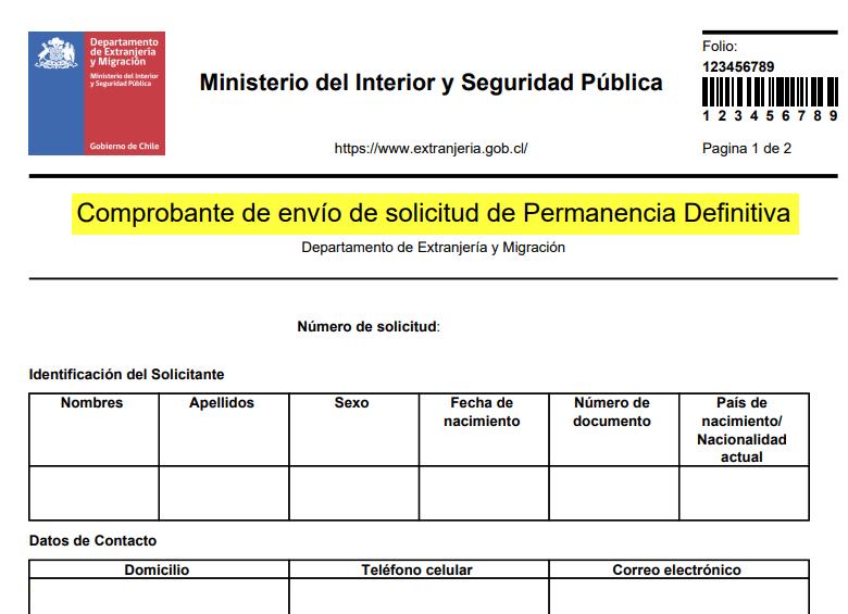 Comprobante de envío de solicitud anterior subsanar solicitud de permanencia definitiva extranjeria chile immichile