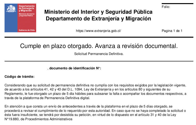 Cumple en plazo otorgado Avanza a revisión documental permanencia definitiva extranjeria chile immichile