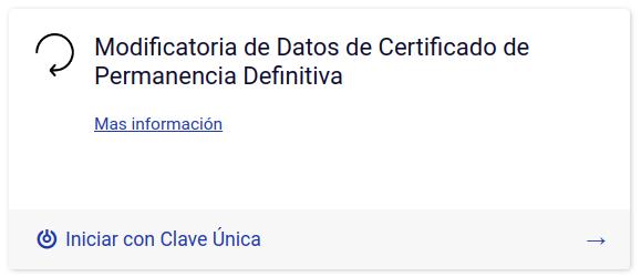Modificatoria de Datos de Certificado de Permanencia Definitiva tramites en linea departamento de extranjeria y migracion chile