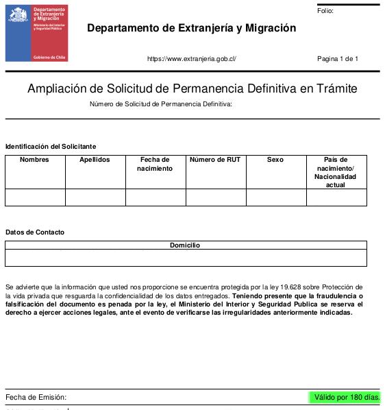 ampliacion de solicitud de permanencia definitiva en tramite extranjeria immichile salir chile