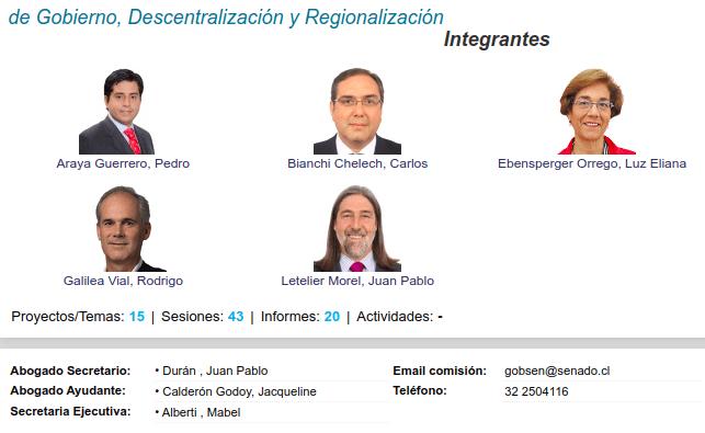 comisión de gobierno descentralizacion y regionalizacion del senado de chile