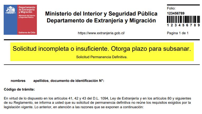 solicitud_incompleta_subsanar permanencia definitiva extranjeria chile immichile