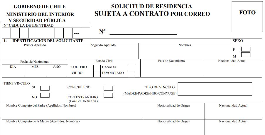 Casilla 1 Identificación del solicitante solicitud visa sujeta a contrato departamento de extranjería y migración immichile