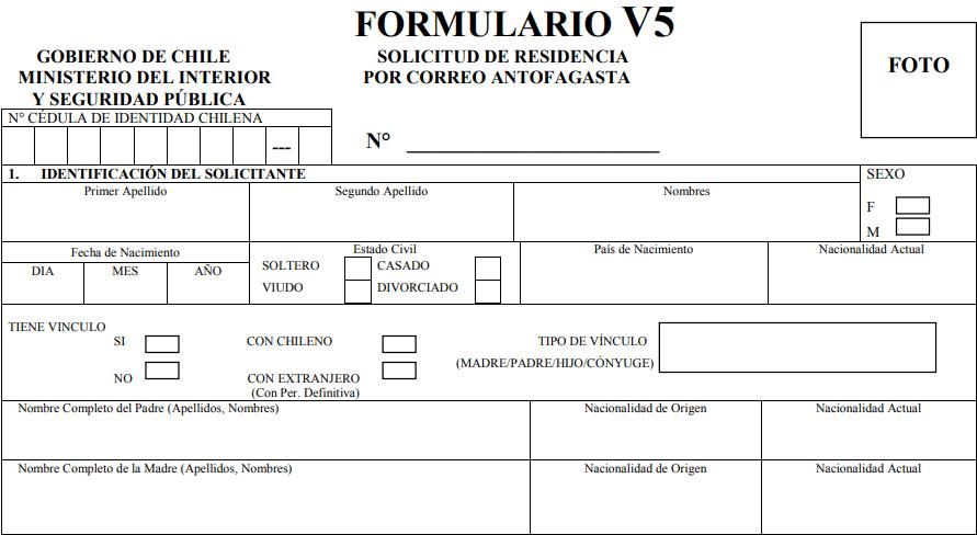 Casilla 1 formulario de solicitud de visa sujeta a contrato gobernacion provincial de antofagasta v5 extranjeria y migracion migraciones chile immichile