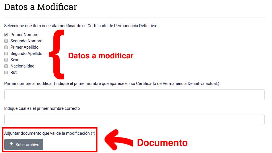 datos a modificar modificatoria datos certificado permanencia definitiva extranjeria y migracion chile immichile