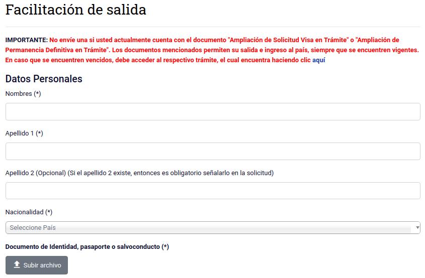 facilitacion de salida datos personales