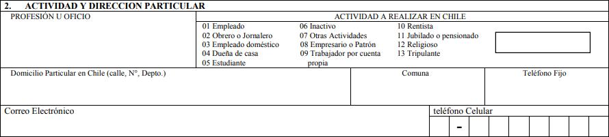 formulario solicitud visa sujeta a contrato gobernacion provincial de antofagasta casilla 2 actividad y dirección particular extranjeria y migracion migraciones chile immichile
