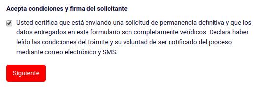 Acepta condiciones y firma del solicitante solicitud permanencia definitiva chile extranjeria immichile