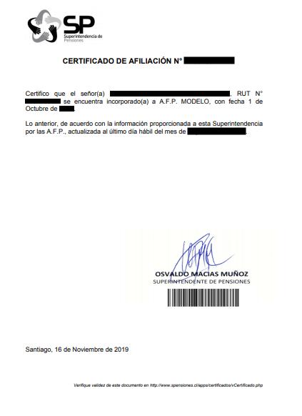 Certificado de afiliación afp chile superintendencia immichile