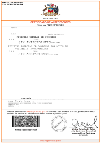 certificado de antecedentes penales para fines especiales