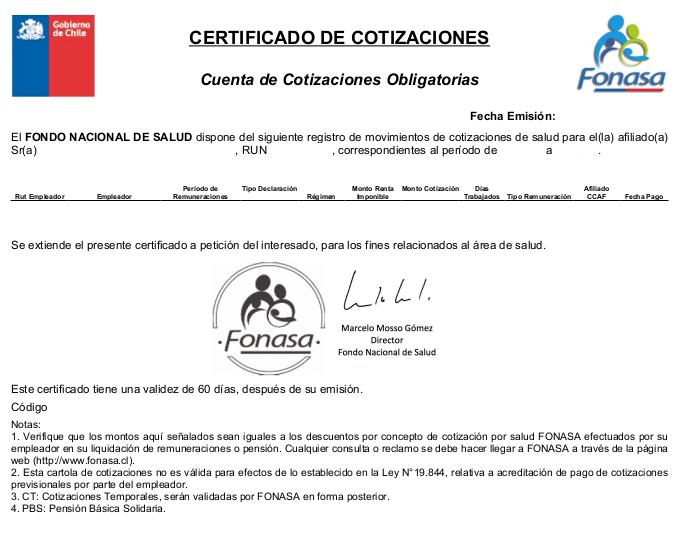 certificado de cotizaciones fonasa chile immichile