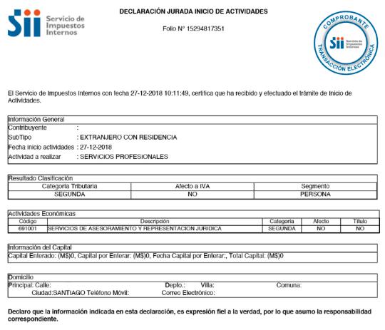 certificado de inicio de actividades sii permanencia definitiva extranjeria chile immichile