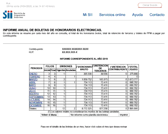 informe anual boletas de honorarios permanencia definitiva chile immichile