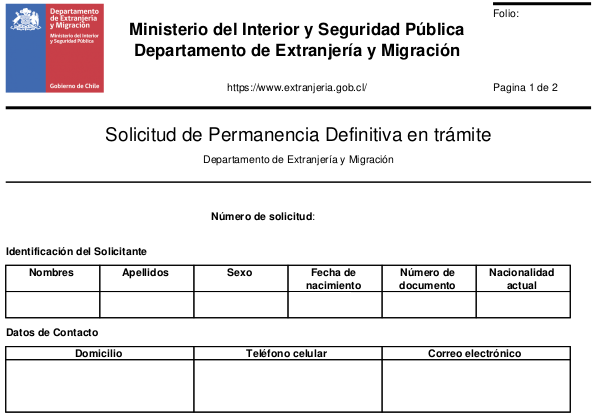 solicitud de permanencia definitiva en trámite pede chile extranjeria immichile