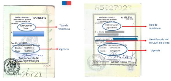 visa titular o dependiente condicion extranjeria y migracion chile immichile