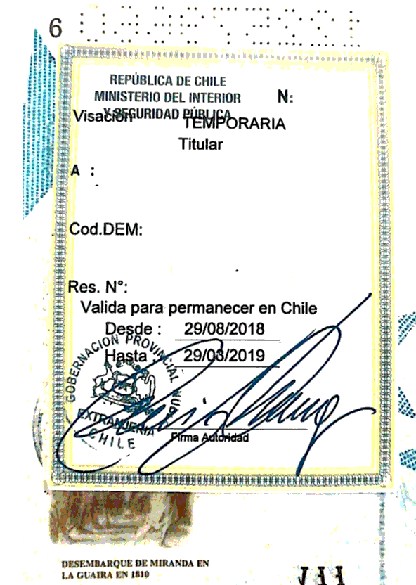 visas estampada en el pasaporte permanencia definitiva chile extranjeria immichile