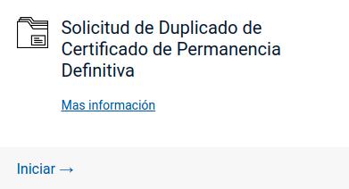 Solicitud de Duplicado de Certificado de Permanencia Definitiva extranjeria tramites en linea immichile