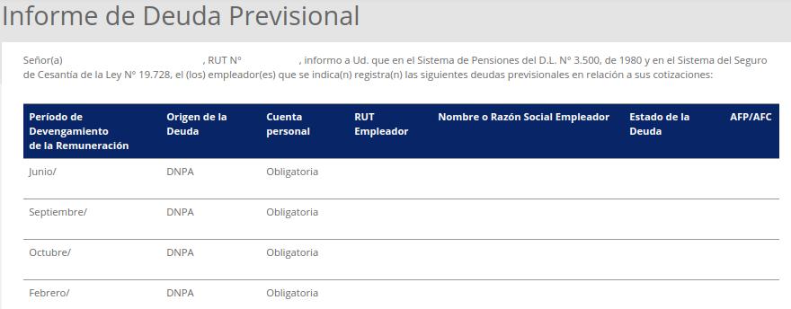 informe deuda previsional superintendencia de pensiones chile empleador cotizaciones immichile
