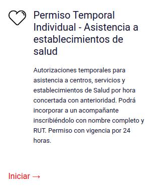 Permiso Temporal Individual - Asistencia a establecimientos de salud