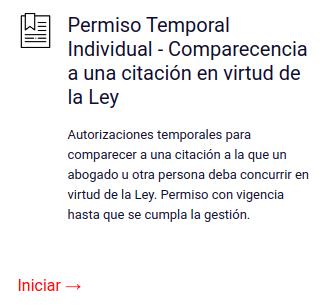 Permiso Temporal Individual - Comparecencia a una citación en virtud de la Ley chile
