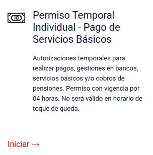 Permiso Temporal Individual - Pago de Servicios Básicos