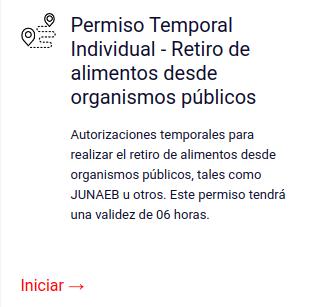 Permiso Temporal Individual - Retiro de alimentos desde organismos públicos