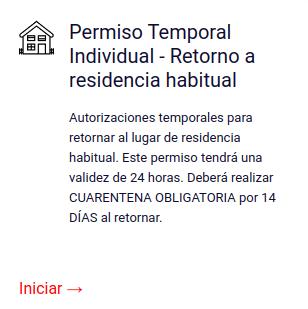 Permiso Temporal Individual - Retorno a residencia habitual