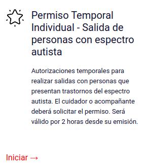 Permiso Temporal Individual - Salida de personas con espectro autista
