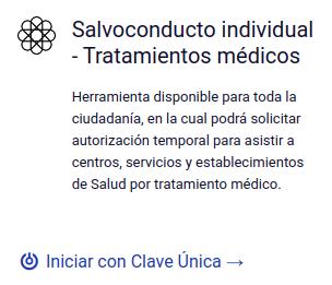 Salvoconducto individual - Tratamientos médicos