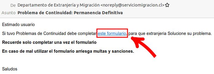 correo electronico extranjeria problema de continuidad permanencia definitiva immichile chile