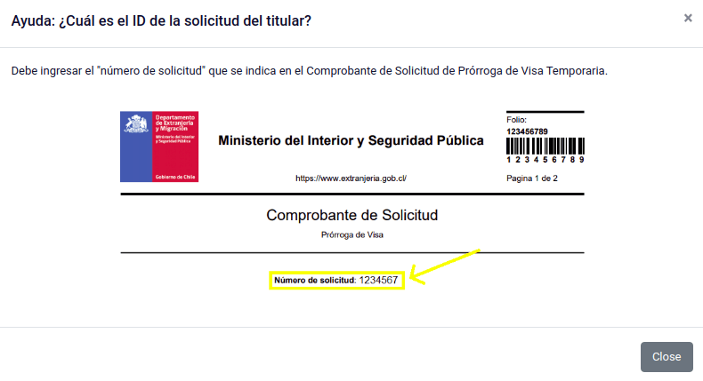 id del titular extranjero solicitud prorroga de visa temporaria extranjeria chile immichile