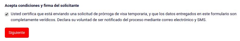 prórroga de visa temporaria aceptar condiciones siguiente migraciones chile immichile