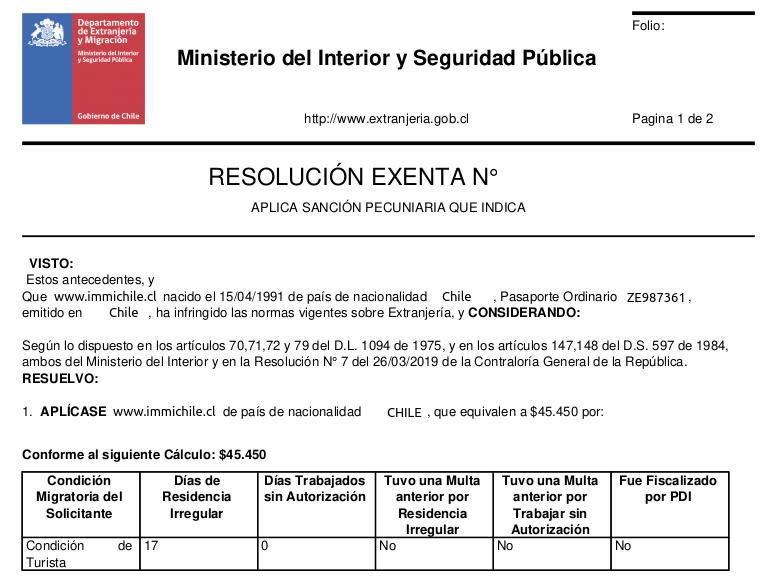 resolución exenta multa aplicada extranjeria migraciones chile immichile
