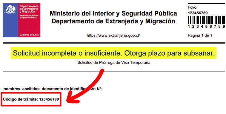 codigo de tramite notificacion solicitud incompleta o insuficiente otorga plazo para subsanar extranjeria chile immichile