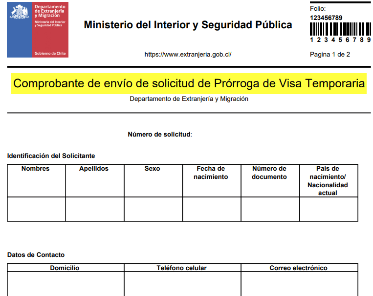 comprobante de envío de solicitud de prórroga de visa temporaria en linea extranjeria immichile migraciones