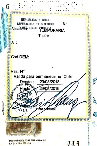 visa estampada en pasaporte