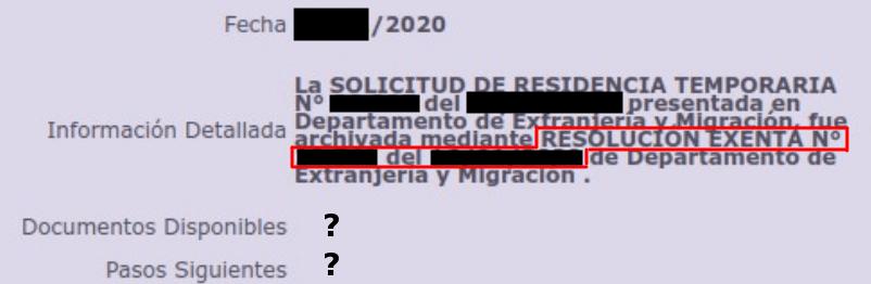 ejemplo en que se archiva una solicitud sin adjuntar la resolución exenta con los fundamentos