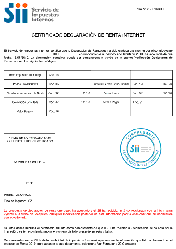 Declaracion de renta permanencia definitiva extranjeria chile immichile