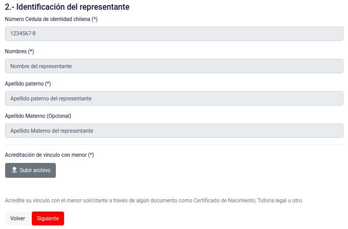 Identificación del representante