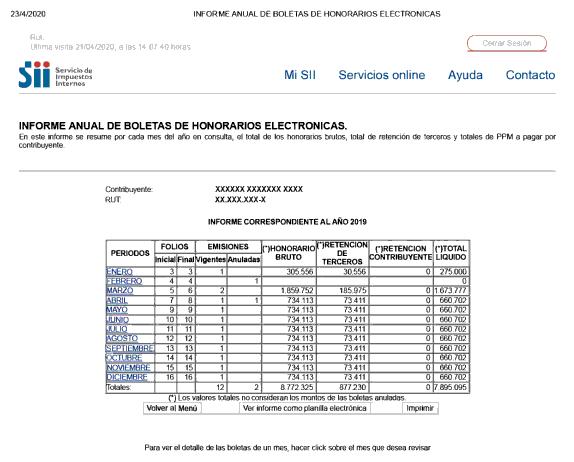 Informe anual de boletas de honorarios electronicas permanencia definitiva extranjeria chile immichile