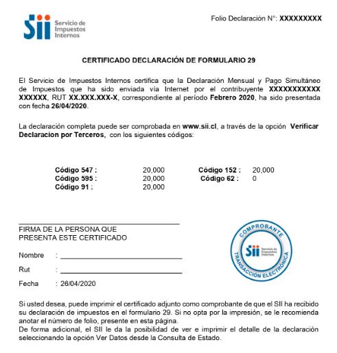certificado declaracion de formulario 29 sii permanencia definitiva extranjeria chile immichile