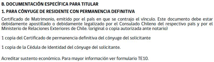 documentacion especifica para el titular visa temporaria vinculo extranjero permanencia definitiva