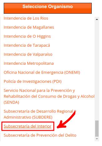 seleccione organismo subsecretaria del interior gobernacion provincial extranjeria chile immichile
